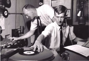 Tommy Edwards, 17, with first program director, Bob Barber, at WTOP in Topeka, Kansas (1961)